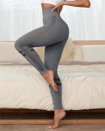 Seamless Eyelet Detail Striped Sports Leggings
