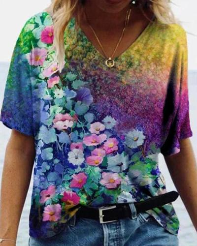 Graffiti Flower Print Short Sleeve T-shirt