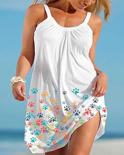 Women Cute Paw Print Holiday Mini Dresses