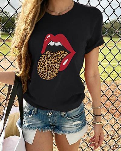 Women Lip Printed Leopard T-shirt O Neck Tops