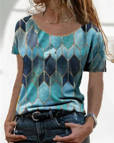 Women Casual Geometric Crew Neck Short Sleeve Shirts