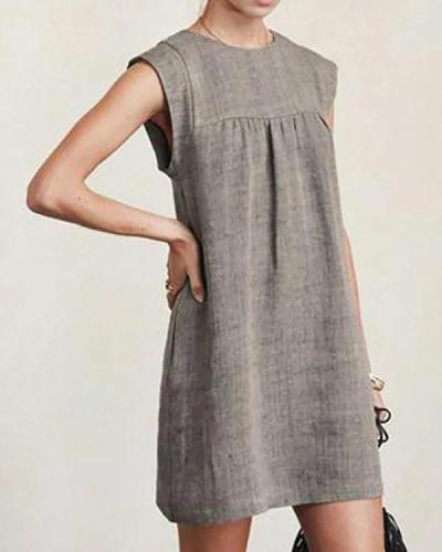 Women Casual Linen Solid Color Dresses