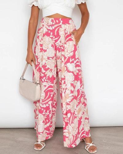 Women's  Print Casual Wide-legged Pants