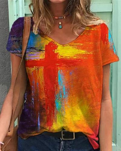 Graffiti Cross Painting Print V Neck T-shirt