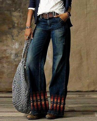 Vintage Pocket Denim Loose Jeans Pants