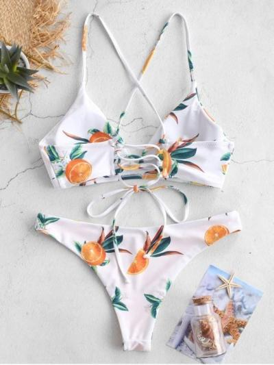 Orange Print Criss Cross Bikini Set