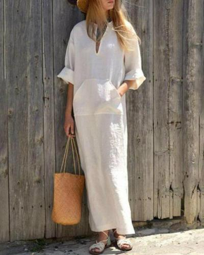 Vintage V-Neck Long Sleeve Maxi Dress