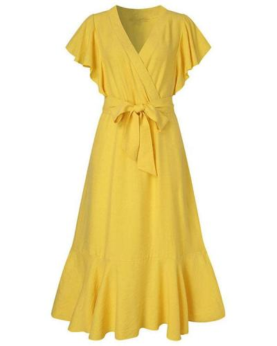 Retro Solid Color V-neck High-waist Lace-up Ruffle Dress