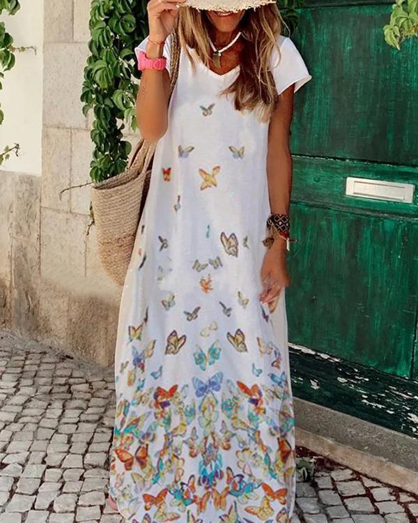 Women's Casual Butterfly Print V-Neckline Dress