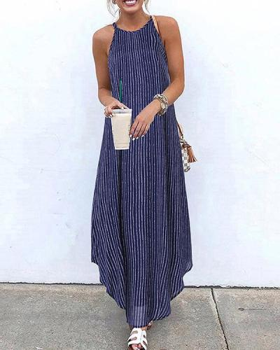 Striped Halter Holiday Maxi Dresses