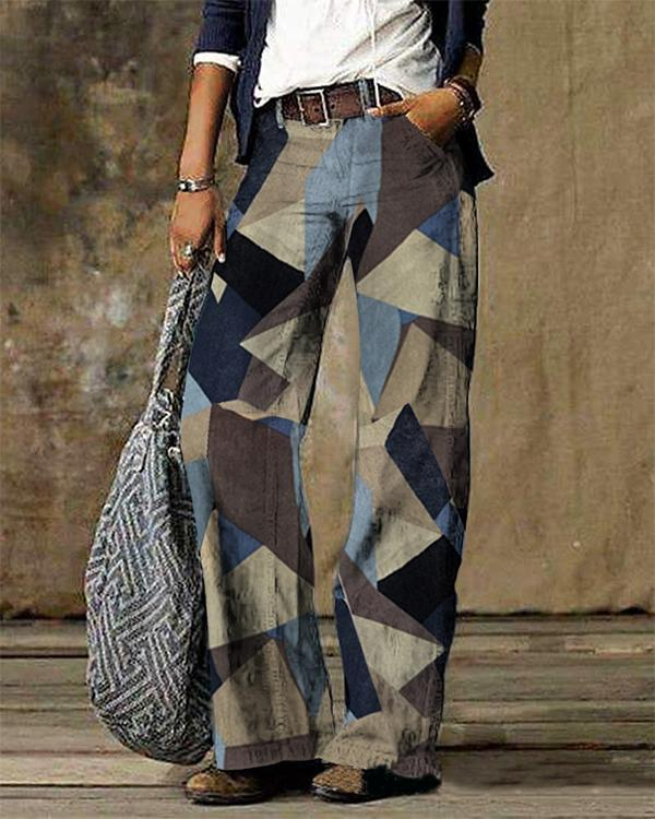 Art Abstract Print Casual Jeans