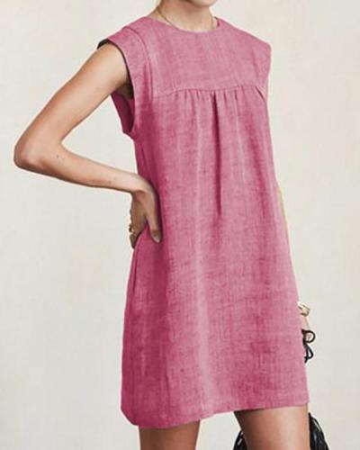 Women Casual Linen Solid Color Dresses