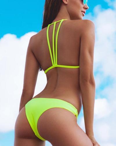 Sexy Solid Bikini Push Up Bathing Suit