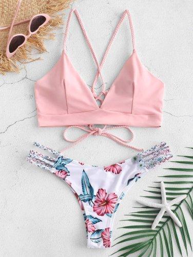Lace-Up Braided Flower Bikini Set