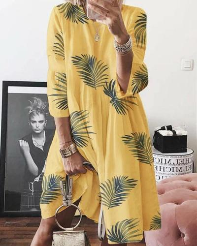 Normal Leaves Casual Long-Sleeved Dresses