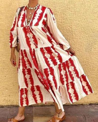 Red Print Long Sleeve Loose Maxi Dress