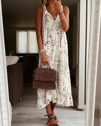 Print Casual V Neck Sleeveless Dresses