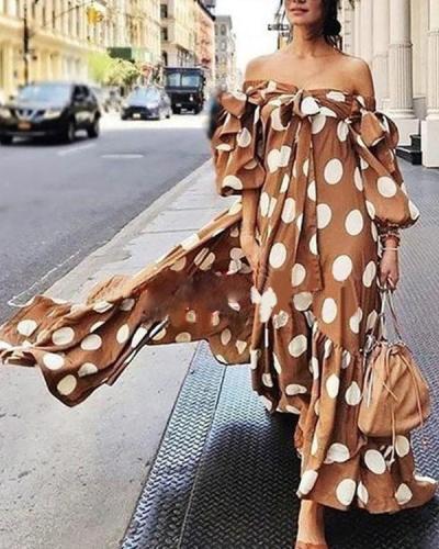 Off-shoulder Polka Dot Maxi Dress For Women