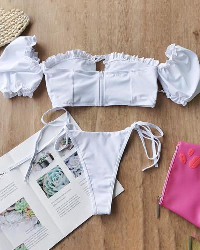 Short Sleeve Split Zipper Swimsuit Solid Color Bikini