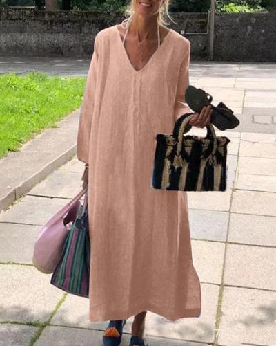 Casual Vintage Pure Color V Neck Linen Cotton Dress