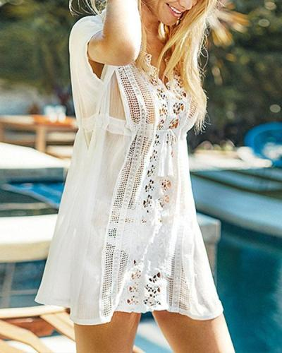 Hollow Crochet Lace Patchwork Swimsuit Cover Up