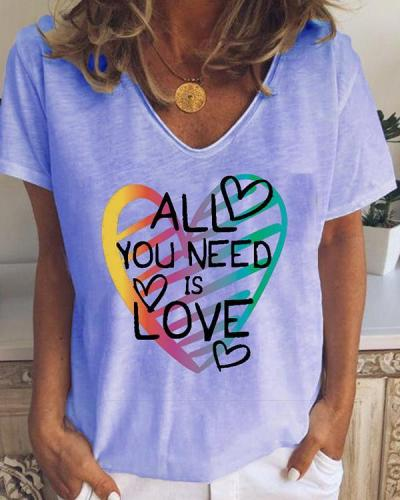 Women's t Letter And Heart Printed Summer Tops