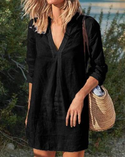 Women Vintage Casual V Neck Solid Linen Dresses