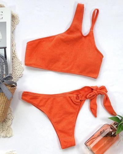 Textured One Shoulder Tie Side Bikini Swimsuit