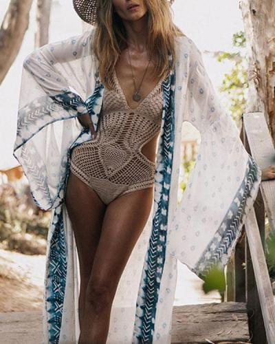 Flare Sleeve Bohemian Print Beachside Long Cardigan