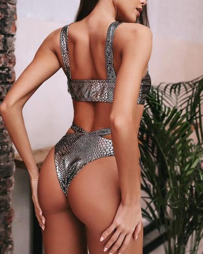 Metallic Crocodile Ring Linked High Cut Bikini Swimsuit