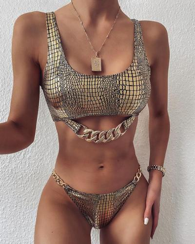 Snake-Print Chain Embellished Split Bikini Swimsuit
