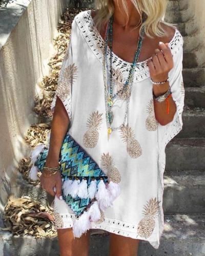 Women Summer Boho Pineapple Vacation Dress