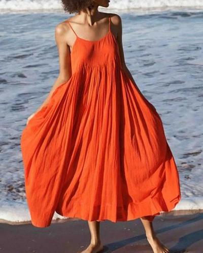 Women Summer Swing Spaghetti Cotton Holiday Boho Maxi Dresses