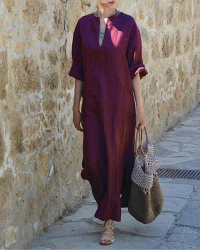 Vintage V-Neck Long Sleeve Maxi Dress