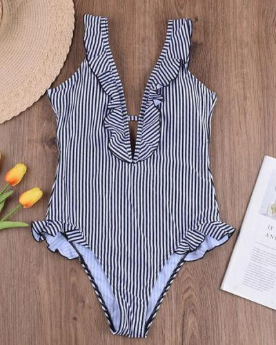 Striped V-neck One-piece Swimsuit