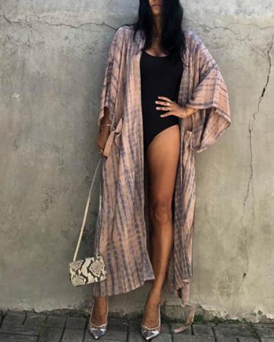 Long Sleeve Printed Pocket Sun Protection Bikini Cover-up with Belt