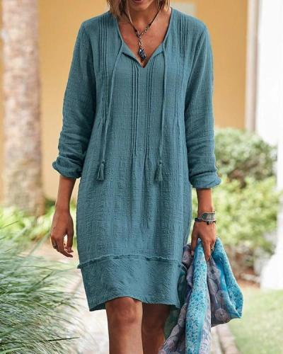 Vintage Long Sleeve Tie-Neck Cotton Dress