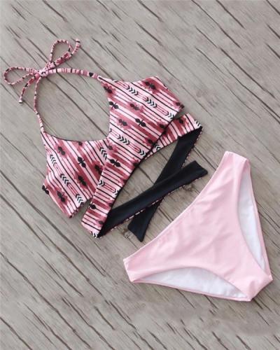 Women's Plunging Neckline Printed Halter Neck Bikini Swimwear