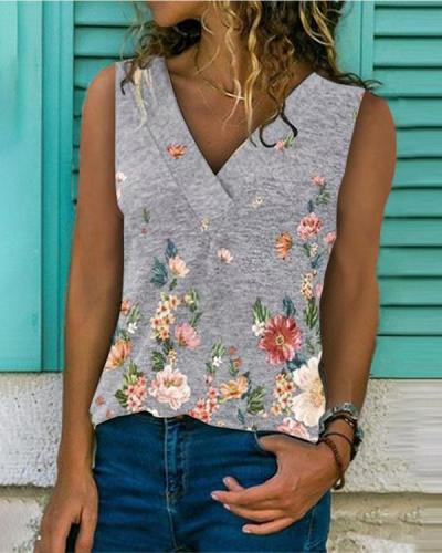 Women V-Neck Sleeveless Print Casual Tops