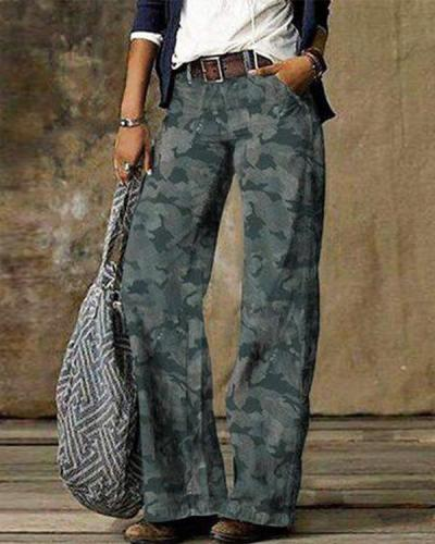 Gray Denim Printed Vintage Pants