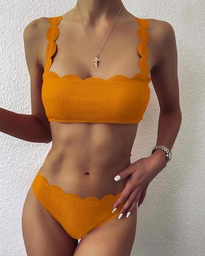 Ruffled Split Swimsuit Sexy Bikini