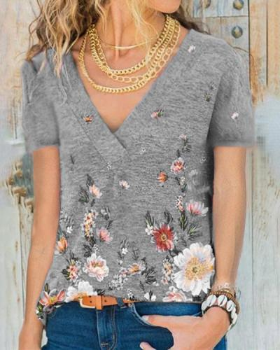 Women Crew-Neck Short Sleeve Floral Print Blouses