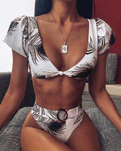 Printed Short Sleeve Bikini Set With Belt