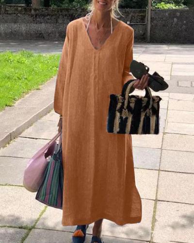 Casual Vintage Pure Color V Neck LinenCotton Dress