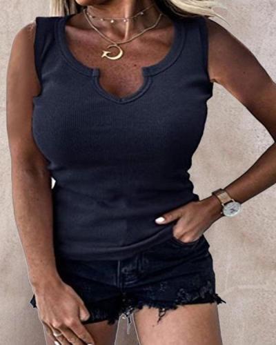 Solid Stretchy Slim Fit Fashion Basic Vests