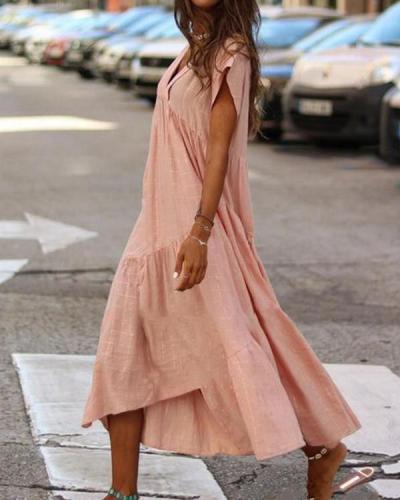 Loose V-Neck Solid Color Short Sleeve Dress