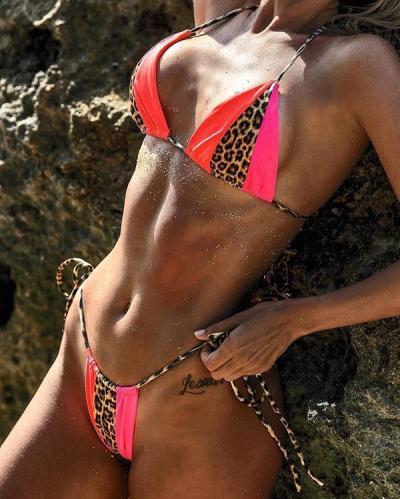 Leopard Stitching Bandage Sexy Swimsuit Bikini