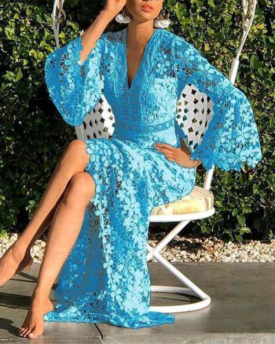 V-Neck Hollow Long Sleeve A-Line Flare Sleeve Dress