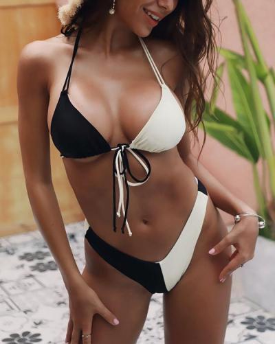 Leopard Stitching Bikini Swimsuits