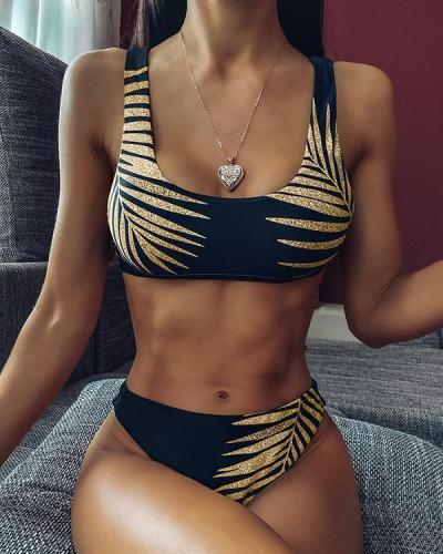 Leaf Print Thin Strap Bikini Set